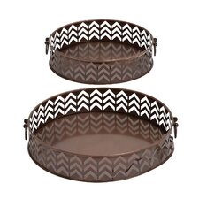 Stylish and Rusty 2 Piece Round Shaped Tray Set