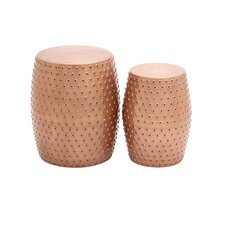 2 Piece Metal Punched Stool Set