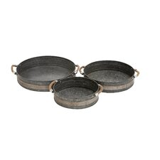 3 Piece Attractive Metal Galvanized Tray Set