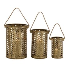3 Piece Classy Attractive Metal Lantern Set