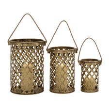 Antique 3 Piece Metal Lantern Set