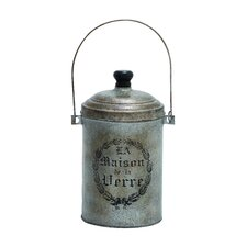 Antique Styled Metal Galvanized Canister