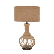"The Ingenious Jute Rope 30"" H Table Lamp with Drum Shade"