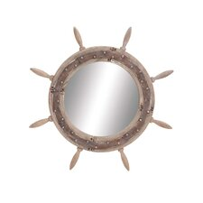Elegant Wood Ship Wheel Mirror