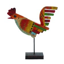 Colorful Indian Wooden Painted Rooster Statue