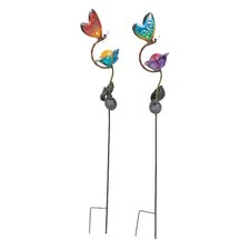 2 Piece Loveliest Metal Solar Garden Stake Set