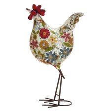 Floral Metal Rooster Statue