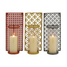 3 Piece Metal / Glass Sconce Set