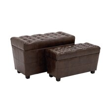 2 Piece Alluring Wood / Faux Leather Stool Set