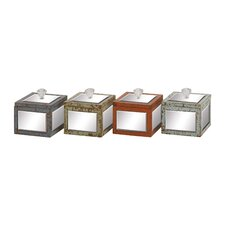 Striking Wood Mirror Jewelry Box (Set of 4)