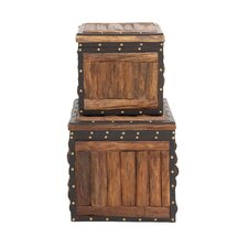 Stunning 2 Piece Wood Leather Trunk Set