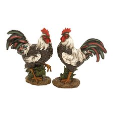 2 Piece The Cool Polystone Rooster Set