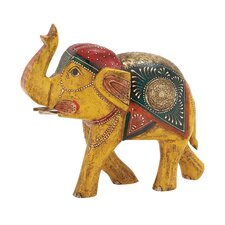 Attractive and Ethnic Wood Metal Painted Elephant Statue