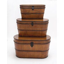 3 Piece The Cutest Wood Trunk Set