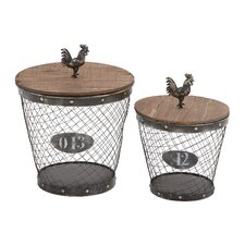2 Piece Classy Metal Wood Basket Set