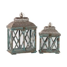 2 Piece Classic and Traditional Wooden Lantern Set
