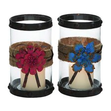 2 Piece Creative Styled Floral Glass Hurricane Set