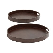 2 Piece Wood Real Leather Oval Tray Set