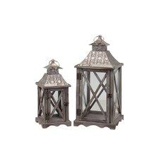 2 Piece Wooden Lantern Set