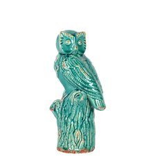 Wide Eyes Owl on Branch Figurine