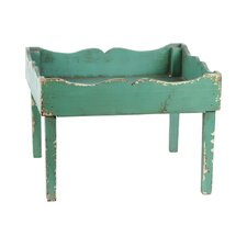 Elegantly Carved Four Legged Wooden Tray End Table