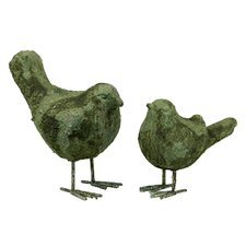 2 Piece Antique Stoneware Bird Statue Set