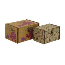 Wonderful 2 Piece Wood Canvas Box Set