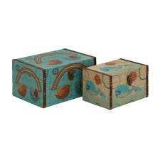 Creative 2 Piece Styled Wood Canvas Box Set
