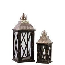 2 Piece Rustic and Charming Wooden Lantern Set