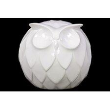 Spherical Ceramic Owl Figurine