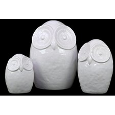 3 Piece Ceramic Owl Figurine Set