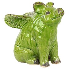 Cute and Endearing Antiquated Ceramic Flying Pig Statue