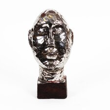 Silver Coated Ceramic Head Bust