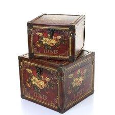2 Piece Wooden Leather Storage Box Set