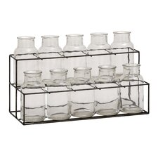 11 Piece Metal Glass Decorative Bottle Set