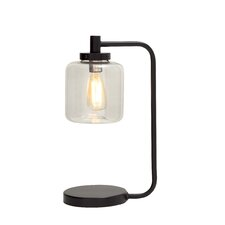 """Contemporary Styled Metal Glass 11"""" Table Lamp with Drum Shade"""