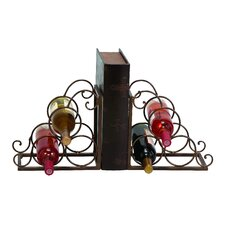 6 Bottle Tabletop Book End Wine Rack