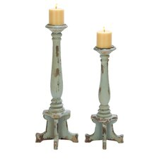 <strong>Woodland Imports</strong> Contemporary Candle Holder (Set of 2)