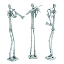 <strong>Woodland Imports</strong> Aluminum Musician Sculpture (Set of 3)