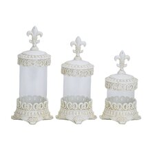 Flower Polystone and Glass Canister (Set of 3)