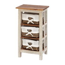 <strong>Woodland Imports</strong> Antiqued Rattan Wood 3 Drawer Cabinet