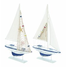 2 Piece Carved Edges Sailing Model Boat Set