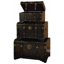3 Piece Faux Leather Trunk Set