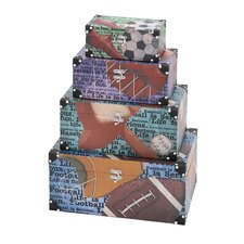 <strong>Woodland Imports</strong> Library Storage Books Wood Canvas Boxes (Set of 4)