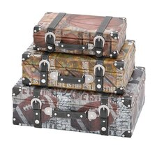 <strong>Woodland Imports</strong> Library Storage Books Wood Canvas Case (Set of 3)