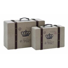 Vintage Look French Burlap Travel Luggage (Set of 2)
