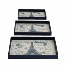 <strong>Woodland Imports</strong> 3 Piece Paris Themed Rectangular Serving Tray Set