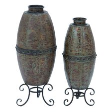 <strong>Woodland Imports</strong> Metal 2 Piece Rustic Vase Set