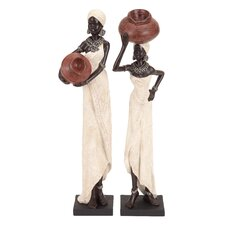 Table Top Polystone African Figure Sculpture (Set of 2)