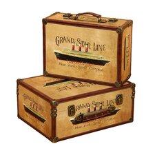 'Grand Star Line' 2 Piece Wooden Trunk Set